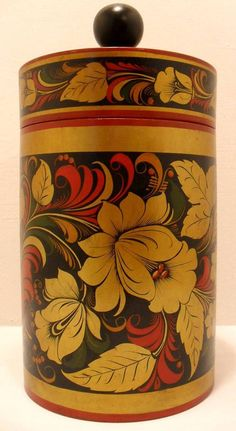 Wooden canister decorated with traditional Khokhloma painting from Russia. #folk #art