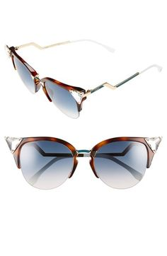 Fendi Crystal 52mm Tipped Cat Eye Sunglasses | Nordstrom