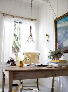 Natural Light Worn Woods Reclaimed Furniture Rustic Country Home Office Drop
