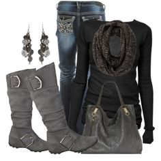 Black & gray, created by daisy-weber on Polyvore