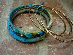 Gypsy Bracelet / Sari Silk Bangles / Bohemian Bracelet by Syrena56