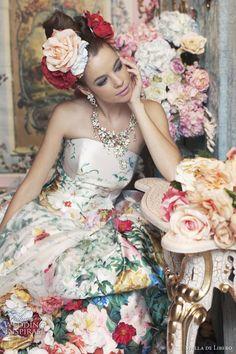 Noiva com Classe: Vestidos de noiva floral de cores variadas Stella de Libero