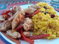 Travel and Cooking by Claudia: HÜHNEROBERKEULEN mit GEWÜRZREIS Chicken, Food, Rice, Kochen, Recipes, Meals, Yemek, Buffalo Chicken, Eten