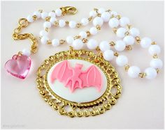 Pink Bat Necklace, Gold Cameo Pendant, White Rosary Chain - Kawaii Jewelry, Pastel Goth