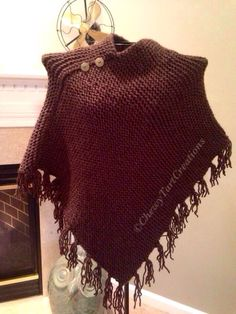Loom knit Fringe Poncho