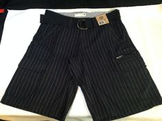new with tags MEN'S ROUTE 66 CARGO pin striped SHORTS W/ BELT waist SIZE 30 #Route66 #Cargo