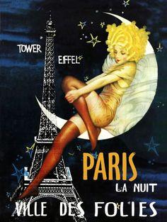 Vintage poster promoting nights in Paris                              …