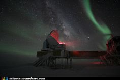 northern lights over the south pole observatory