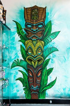 ocal art-babe Fieldey painting a tropical themed tiki totem mural on one of the Red Stripe Cothing shop walls! She's done such an amazing job! If you haven't already been introduced to the world of Fieldey, you're in for a treat! She's a Perth-based artist operating in the sweaty crease between surf, graffiti and tattoo art, and we LOVE her work! Check out www.fieldey.com  She does lots of commission work so get in touch if you've got something in mind!
