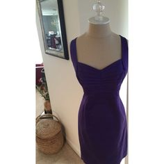 Calvin Klein Purple Dress Calvin Klein Purple Sleeveless Dress With Back Zip ; Hook And Eye Closure'Stretch Luxe' Modern Look With An Extremely Flattering Fit.-Great Dress For An Evening Out- Size 10 Calvin Klein Dresses
