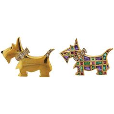 Pair Diamond Emerald Ruby Westie Dog Brooches | From a unique collection of vintage brooches at https://www.1stdibs.com/jewelry/brooches/brooches/