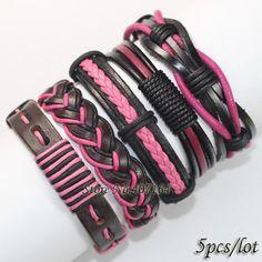 FL13-free доставка (5 шт./лот) последней моде прекрасный розовый племенной этнические ручной работы подлинная плетеный кожаный браслет для женщин