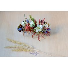 Woodland hair Floral berries comb Woodland wedding flower head piece... ($41) via Polyvore featuring accessories, hair accessories, flower hair comb, bride hair comb, bride hair accessories, bridal flower hair accessories and hair comb