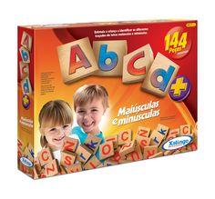 5264.3 - ABCD  | Com 144 peças em madeira. | Faixa etária: + 4 anos | Educativos | Xalingo Brinquedos | Crianças