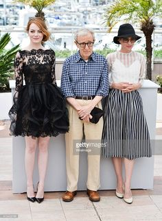Actresses Emma Stone and Parker Posey with director Woody Allen attend the 'Irrational Man' Photocall during the 68th annual Cannes Film Festival on May 15, 2015 in Cannes, France.