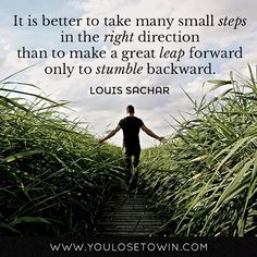 """""""It is better to take many small steps in the right direction than to make a great leap forward only to stumble backward.""""  Double-tap if you agree!"""