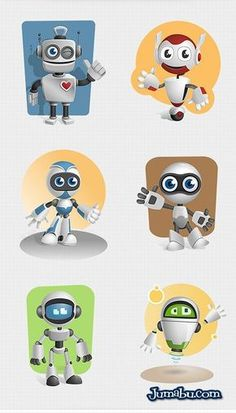 Robot vector character set featuring 6 awesome types of robots – one wheeled… 3d Character, Character Concept, Concept Art, Cool Robots, Robots For Kids, Arte Robot, Robot Art, Robots Characters, Cute Characters