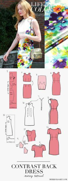 Contrast Back Dress Tutorial Dress Tutorials, Sewing Tutorials, Sewing Patterns Free, Free Sewing, Dress Backs, Silk Fabric, Have Time, Contrast, Strapless Dress