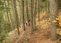 Hiking on Malan's Peak Trail in the Fall in Ogden, Utah.