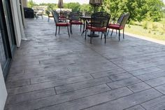 Board Plank stamped concrete patio