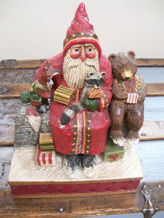"Midwest P Schifferl Woodland Animals Christmas Santa Scene 10"" Folk Art Figurine"