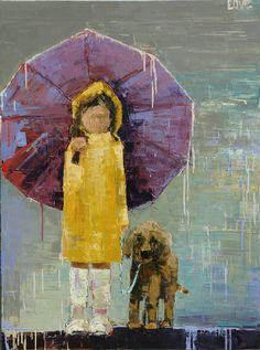 rebecca kincaide.  Little girl with her dog on a rainy, rainy day, she is staying dry because she has her UMBRELLA ! !