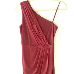 Max and Cleo Susan Asymmetrical One-Shoulder Dress One-shoulder, above the knee cocktail dress. Perfect for any occasion. Oxblood red. Polyester. fully lined. Side gathered waist. Concealed side zip. Worn once. Comes from smoke and pet free home. Max & Cleo Dresses Asymmetrical