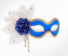 Royal Blue & Gold Masquerade Mask With Rose Decoration by SOFFITTA