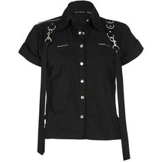 Dead Threads Women's Bondage Shirt ($31) ❤ liked on Polyvore featuring tops, gothic tops, goth top, black shirt, shirts & tops and goth shirt