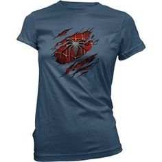 Ugly Duck Clothing Women's Spiderman Under Shirt Effect Action Superhero T-Shirt (Blue) - Visit to grab an amazing super hero shirt now on sale!