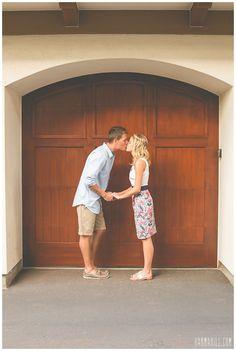 Engagement Portraits in front of a door in Hawaii