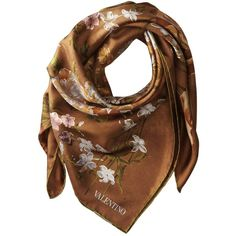 Valentino Flemish Flowers Twill Scarf (£260) ❤ liked on Polyvore featuring accessories, scarves, brown, brown shawl, floral shawl, floral print scarves, flower scarves and brown scarves