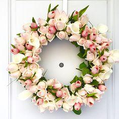 DIY Gorgeous Spring Rosebud Wreath