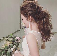 当日髪型 Dress Hairstyles, Wedding Hairstyles For Long Hair, Party Hairstyles, Ponytail Hairstyles, Bride Hairstyles, Wedding Party Hair, Bridal Hair, Bridesmaid Hair Brunette, Hair Arrange