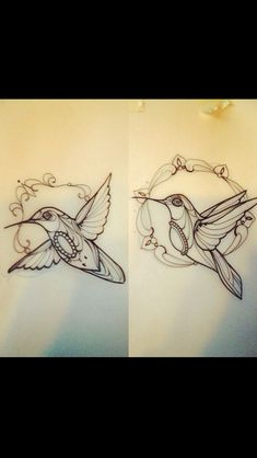 Neo traditional hummingbird tattoo flash (for my mom)