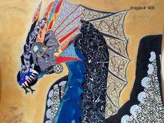 quadro de dragão feito com colagem e técnicas mistas, minha criação. minha página no facebook: https://www.facebook.com/Umdragaopordia