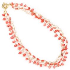Vika Jewelry - 18K Gold Plated Coral And Freshwater Pearl Multilayer Necklace VIKA (Jewelry from Brazil),http://www.amazon.com/dp/B008AK26D6/ref=cm_sw_r_pi_dp_NNZzrbCD70E84A9D