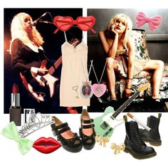 Peter Pan collars, slips, frills, night dresses, bows, girly hair clips, tiaras, Mary Janes, Doc Martens, lace, fishnet, cigarettes, guitars and the iconic red lipstick