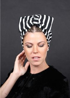 Bow Style Turban in Striped Print