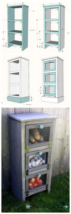 Build a Vegetable Bin Cupboard  free DIY Project and Furniture Plans
