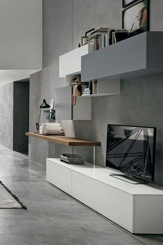Modern Wall Unit by Tomasella, Italy Living Room Wall Units, Living Room Tv Unit Designs, Living Room Furniture, Home Room Design, Home Interior Design, Modern Wall Units, Tv Unit Decor, Muebles Living, Modern Office Design