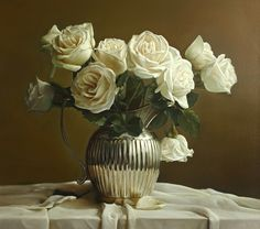Zhou Yu - Roses vs Silver Pitcher 24 - oil on linen