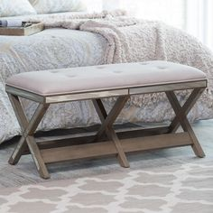 Upholstered Entryway Bench Mudroom End Of Bed Bedroom Mirrored Backless Benches #BelhamLiving #Modern