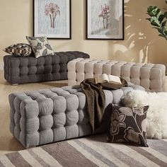 Shop for Knightsbridge Linen Fabric Tufted Bench by iNSPIRE Q Artisan. Get free shipping at Overstock.com - Your Online Furniture Outlet Store! Get 5% in rewards with Club O! - 20522672