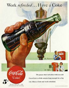 Recently we had posted article about vintage Pepsi Cola advertising. Most of us are well aware about the Cola War. So we thought it would be a great idea to share some of vintage Coca Cola ads also… Coca Cola Poster, Coca Cola Ad, Always Coca Cola, Retro Ads, Vintage Advertisements, Vintage Ads, Vintage Posters, Retro Advertising, Vintage Signs