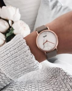 cluse grey & rose gold marble watch