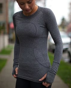 Definitely need to get a couple of these for winter morning runs! --Lululemon Swiftly Tech Long Sleeve. Lightweight with more coverage in colder temperatures. Breathable and prevents odours.