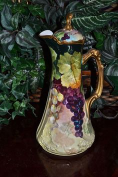 Limoges Unusual Mold Chocolate Pot With Rare Grape Hand Painted Decor and Gorgeous Colors Signed Master Listed Artist Segur