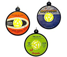 These unique ornaments add the perfect touch to any Christmas tree. Unique 45's are chosen and mounted to an adapter and beaded loop. Created from actual vinyl LP records with the original labels intact and protected with a clear mylar seal. Assorted colors, labels and genres including, Rock, Soul, Jazz, 80's Pop, Crooner, Folk, or Opera. Product selection for order fulfillment is random.