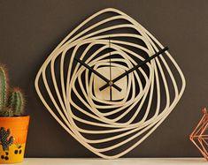Unique wall clock, Modern clocks, Geometric clock, Wooden wall clock, Laser cut, Wood wall clock, Home decor, Wall art, Clock Decorative